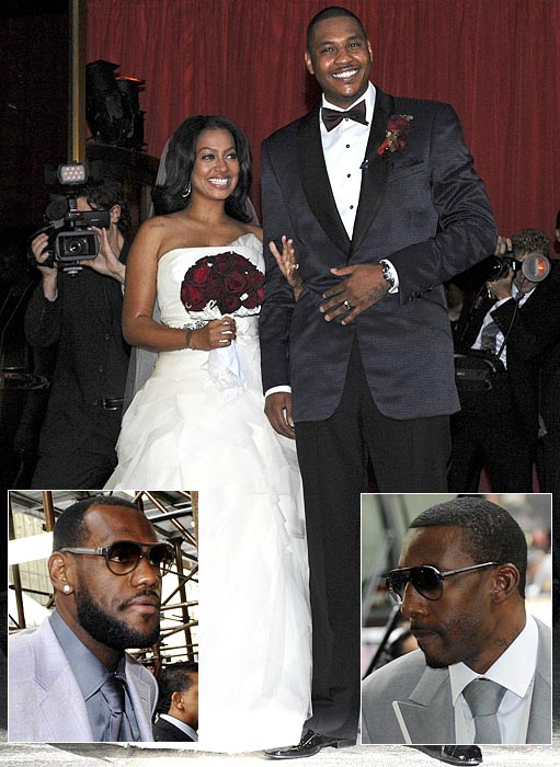 "At the reception of Carmelo's New York wedding to LaLa Vasquez, according to SI's Ian Thomsen, LeBron James addressed attendees and drew laughs when he said to Anthony, ""If you want any chance against us in Miami, you'd better team up with Stoud in New York."" That prompted Hornets point guard Chris Paul to make a toast, suggesting he and Anthony join Stoudemire to create their own Big Three in New York."