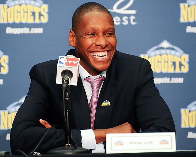 The Nuggets named Masai Ujiri their new general manager. Ujiri, a former international talent scout, vowed to keep the star forward in Denver.