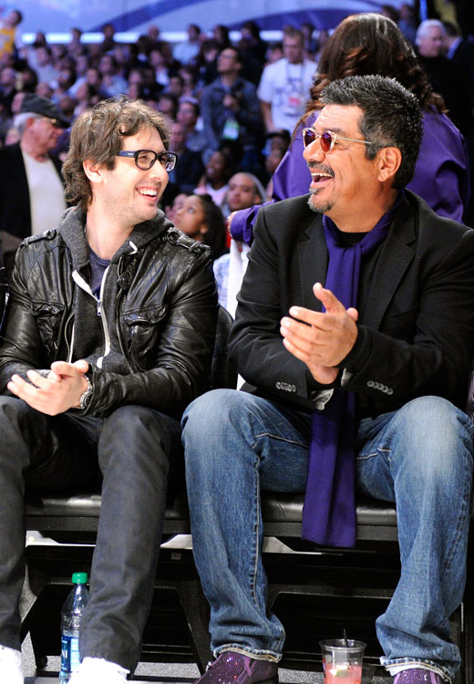 After singing the national anthem, Josh Groban took a seat next to comedian George Lopez.