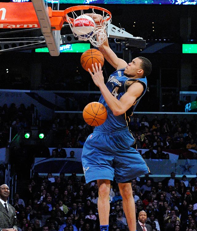 Any other year, JaVale McGee might have won the dunk title, but it just so happened he was going up against Blake Griffin on his home floor. In this impressive slam, McGee dunked three balls -- two he was carrying and one off an alley-oop from teammate John Wall.