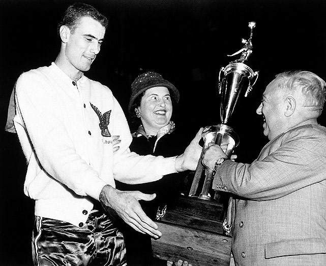 Led by Bob Pettit, the West cruised to a 108-94 victory over the East in Rochester, N.Y.  Pettit scored a game-high 20 points and pulled down 24 rebounds to win the first of four career NBA All-Star MVPs.