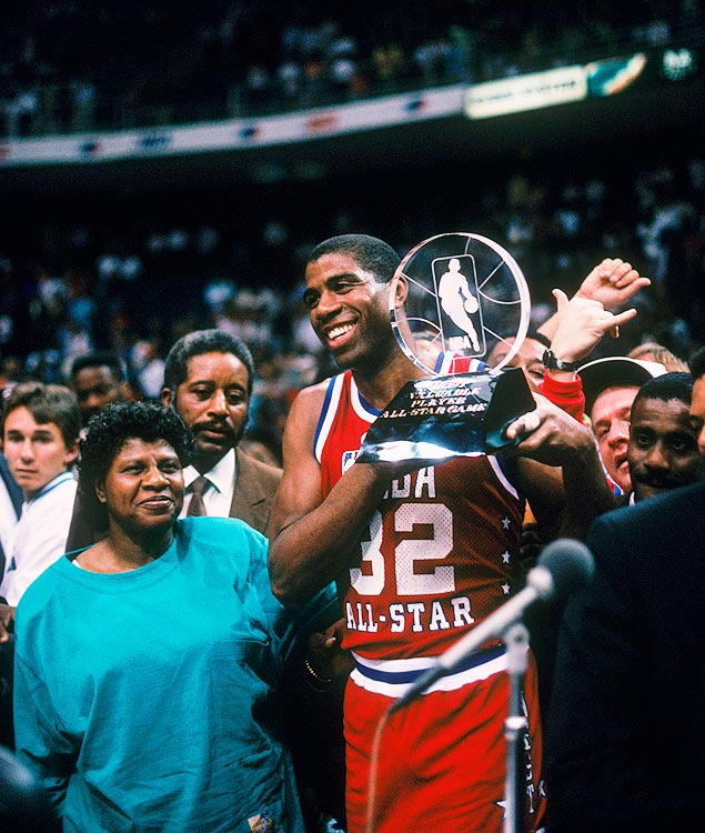 As if he didn't have enough major awards in his trophy case, Magic Johnson won the All-Star MVP after notching 22 points, six rebounds and four assists -- for the losing team. The West lost, 130-113, making Magic only the third player in history to win MVP honors will playing for the losing team.