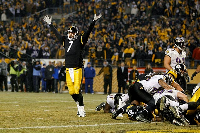 Ben Roethlisberger may not have the statistics that other elite NFL quarterbacks have, but he certainly knows how to win.  That was evident in the Steelers' AFC Divisional matchup with Ravens on Jan. 15.  With the score tied late in the fourth quarter and Pittsburgh facing a 3rd-and-19, Roethlisberger unleashed a 58-yard heave to a streaking Antonio Brown, who trapped it on his helmet before stepping out of bounds.  Rashard Mendenhall plowed his way for a touchdown a few plays later, and the Steelers fended off bitter-rival Baltimore 31-24.