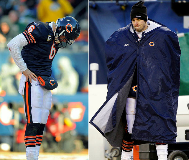 The NFC Championship Game on Jan. 23 was one to forget for Bears' quarterback Jay Cutler. After passing for a mere 80 yards and an interception in the first half, he was deemed ineligible to play, retreating to Chicago's bench due to injury.  The move was not well received.  Cutler's absence spurred widespread condemnation from NFL players questioning his toughness, though teammate Brian Urlacher came to his defense.  A day after the game, it was revealed that Cutler had a torn MCL.