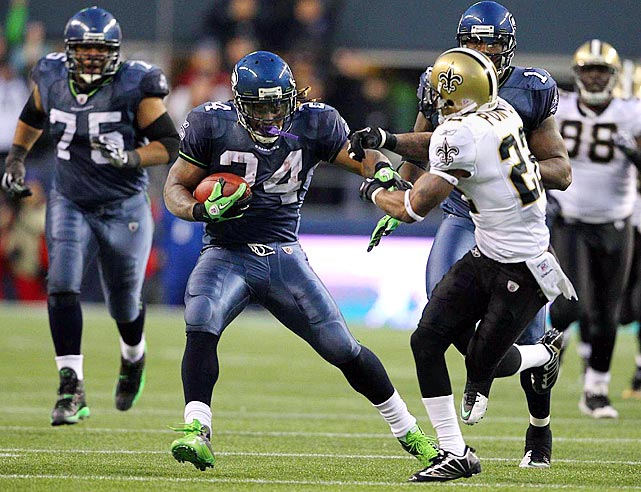 Hardly given a chance entering their NFC Wildcard showdown with New Orleans, the Seahawks shocked the football world by dusting the Saints 41-36.  Matt Hasselbeck rose to the occasion, airing it out for 272 yards and four touchdowns, but the real hero of the day was Marshawn Lynch.  Lynch ripped off an incredible 67-yard touchdown run, shedding eight tackles and delivering an unforgettable stiff arm to Tracy Porter to seal the upset.  The surprising result ended the Saints' bid at a repeat championship.