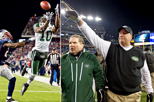 """The third installment of Jets-Patriots series became a one-sided media war, with New York -- Antonio Cromartie in particular -- calling out the same New England team that crushed them 45-3 in Week 13. Then, the Jets backed it up.  Keyed by an electrifying seven-yard touchdown grab by Santonio Holmes early in the fourth, Gang Green ousted the heavily-favored Pats 28-21.  Ryan boasted after the game, """"Same old Jets.  Back to the AFC Championship."""""""