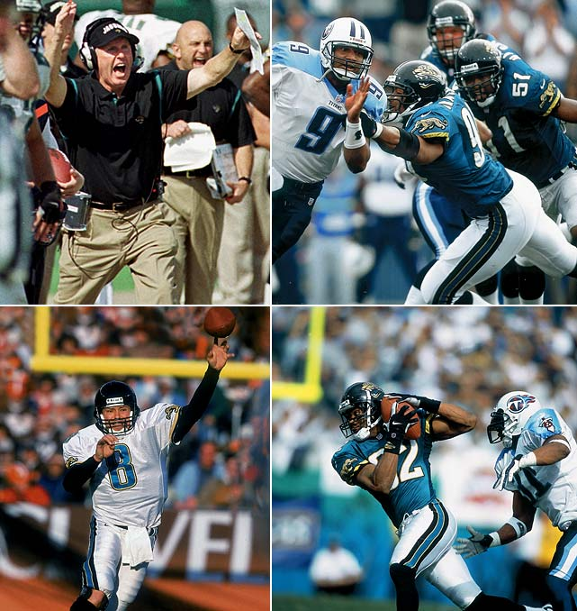 It's not a stretch to draw parallels between the 1999 Jaguars and 2007 Patriots,  the kingpins of this countdown. Both clubs proffered double-digit excellence in  point differential and turnover margin, while winning at least nine games by 10  points or more. The two head coaches, Tom Coughlin (Jags) and Bill Belichick  (Patriots), were prominent branches from the Bill Parcells coaching tree. And  both teams, curiously, only lost to one franchise during their near-flawless  campaigns. Of course, New England lost to the Giants in the waning moments of  Super Bowl XLII ... whereas Jacksonville went 0-for-3 against division rival  Tennessee (including the AFC title game). That, in a nutshell, explains why the  Jags aren't sitting at No. 2.