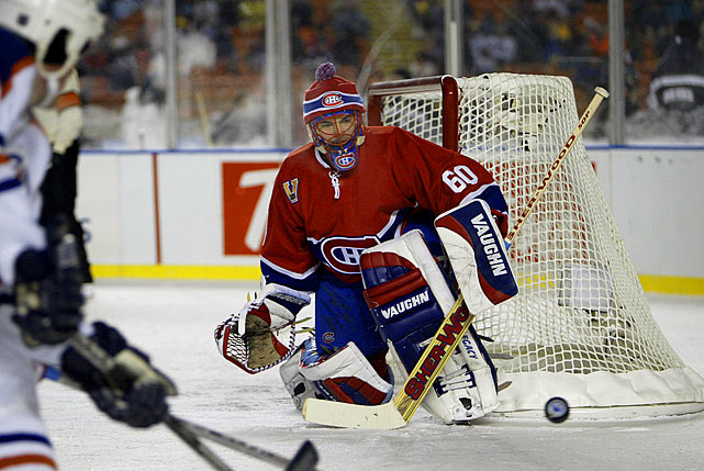 Canadiens netminder Jose Theodore warded off the bitter cold by wearing a toque, a fashion statement that later made an appearance in the first Winter Classic, at Buffalo's Ralph Wilson Stadium in 2008.