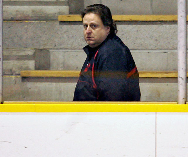 David Frost is a controversial figure who coached a wildly undisciplined Brampton Junior A team that was threatened with suspension in 1993-94. He was accused of hitting one of his players in 1997 and banned from Central A Junior Hockey League arenas after a dispute with the league in 2004. In 2006, he was charged with multiple counts (all dismissed) of sexual exploitation for allegedly hosting alcohol-fueled sex parties involving teenagers.