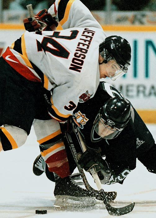Mike Danton (left), whose real name was Mike Jefferson, grew up in the Toronto suburb of Brampton. He went on to star for the Quinte Hawks of the Metro Junior Hockey League in 1996-97. The team was coached by David Frost, who would become his agent and alleged svengali. In the years that followed, Danton would become estranged from his parents.