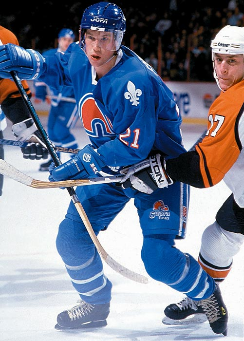 Forsberg's NHL debut was delayed by the 1994-95 NHL lockout, but he took the ice with the Nordiques for the first time on Jan. 21, 1995 against the Flyers (he was credited with an assist).