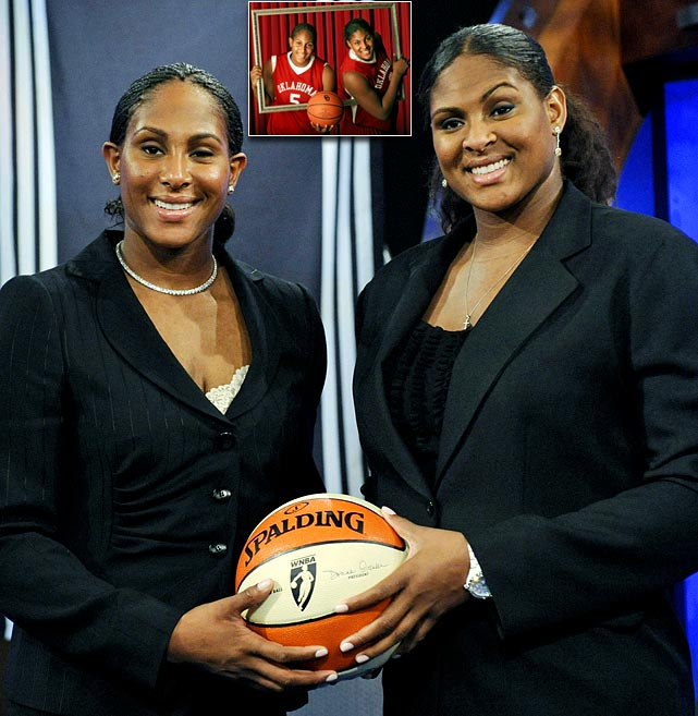 The California natives and University of Oklahoma twin towers were a force between 2006 and 2009. Courtney was named to four consecutive first team All-America teams and won the Associated Press player of the year award in 2007. Both were drafted into the WNBA.