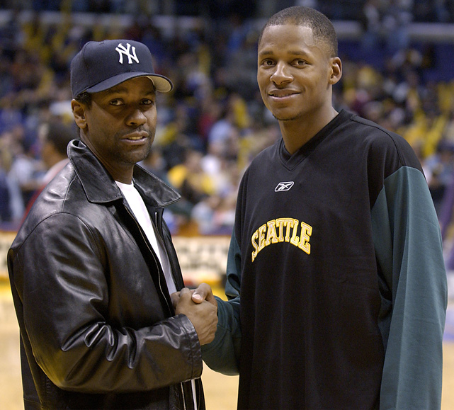 Allen poses with actor Denzel Washington before a game against the Lakers in Los Angeles. Allen co-stared with Washington in the 1998 Spike Lee film  He Got Game .