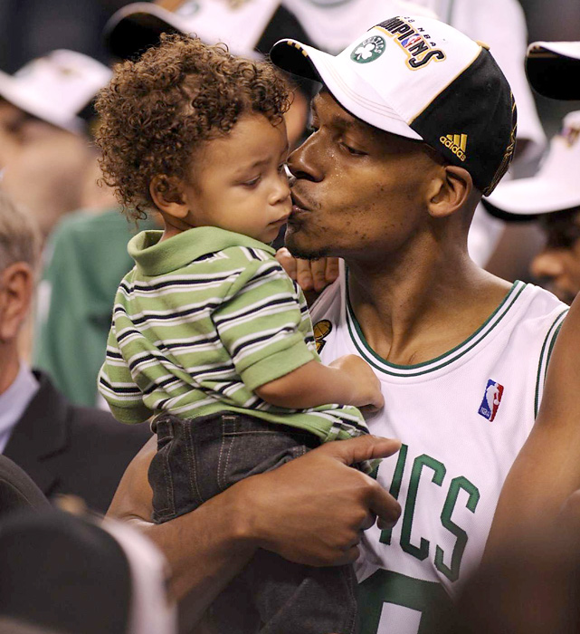 Allen and his wife, Sharon Walker Williams, have two sons, Walker and Ray III. Here, Allen is seen with his then 17-month-old son Walker, who had been diagnosed with Diabetes.