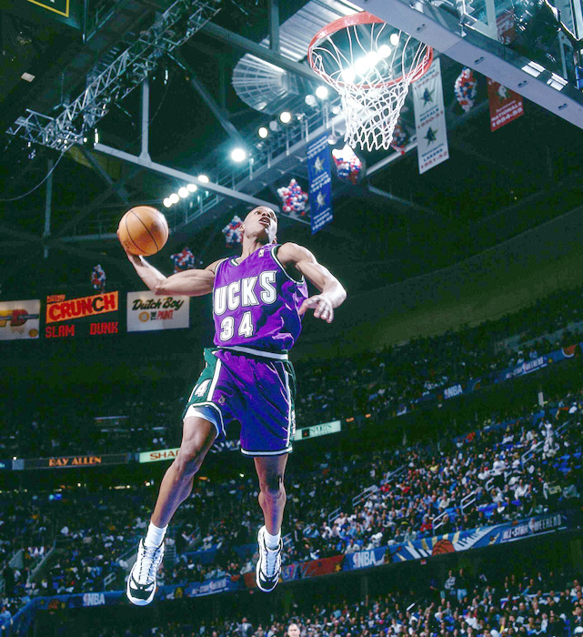 These days Allen is known more for his shooting touch than his dunking prowess, but in 1997 he took part in the Slam Dunk Contest and finished fifth out of six.
