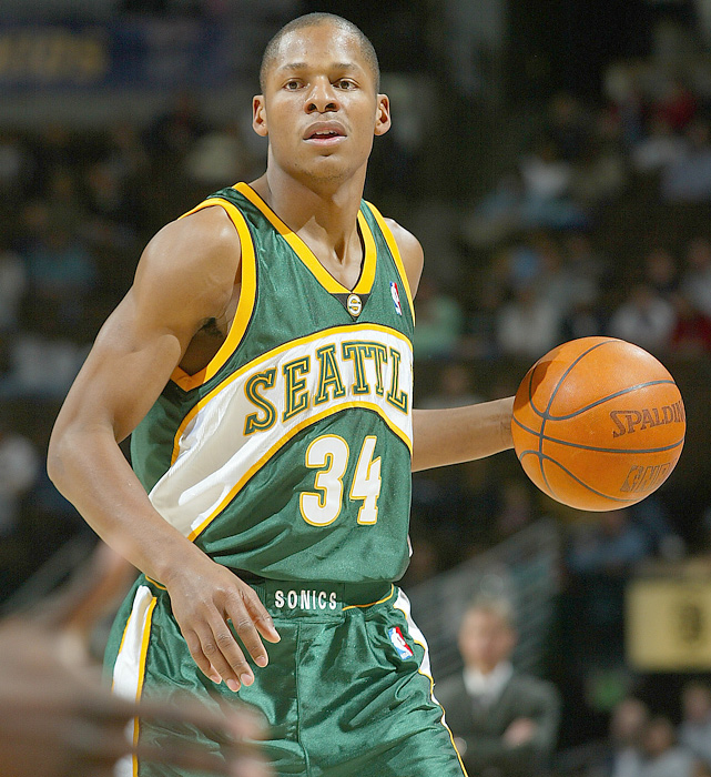 In early 2003, Allen was dealt to Seattle (along with Ronald Murray and Kevin Ollie) for Gary Payton and Desmond Mason. He made the All-NBA second team in 2005 and led the Sonics to the conference championship and 52 wins. In the 2005-06 season, Allen set a career-high with 269 three-pointers made in only 78 games played.