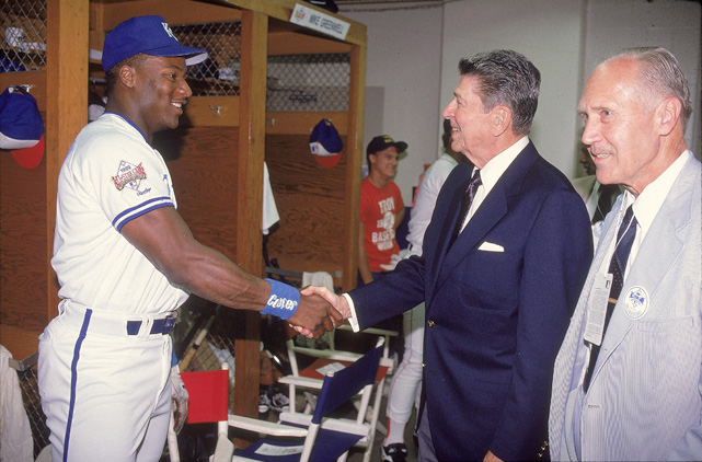 Reagan shakes hands with Bo Jackson after the All-Star game in Anaheim, Calif. Jackson was named MVP of the game.