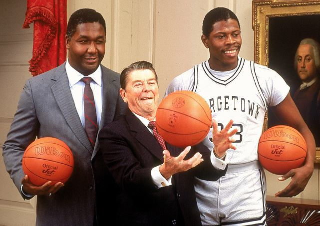 President Reagan shows off his basketball skills as Georgetown coach John Thompson and Patrick Ewing look on. The three appeared on the 1984 SI College Basketball preview issue.