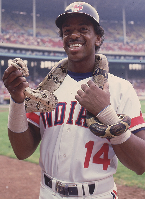 While officials at the Bronx Zoo continued to search (as of March 29) for the Egyptian cobra that escaped, SI takes a look at athletes and snakes.   In this 1988 photo, Cleveland Indians infielder Julio Franco holds a snake around his neck before a game against Seattle.