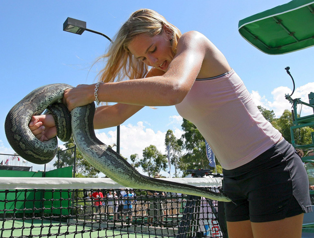 Nicole Vaidisova spends some quality time with Ringo the Python during an offday at the 2006 Australian Open.
