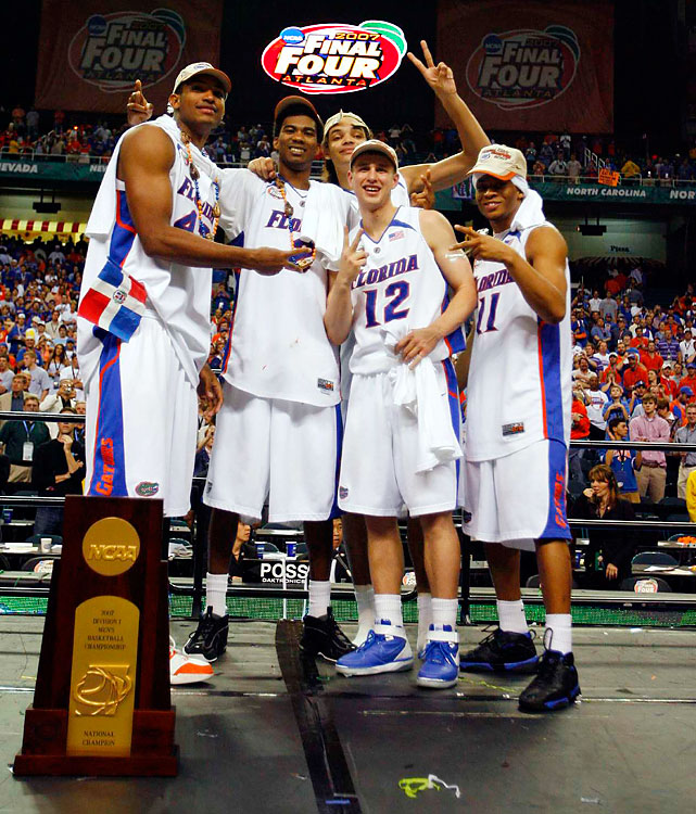 The Gators are the only team to win repeat titles since Duke in 1991-92. They did it with the same essential parts both seasons. Joakim Noah, Al Horford, Corey Brewer, Taurean Green and Lee Humphrey dropped underdog George Mason and UCLA in the 2006 Final Four. A year later, they rolled through the tournament, ousting UCLA in the semis and Greg Oden-led Ohio State in the championship game.