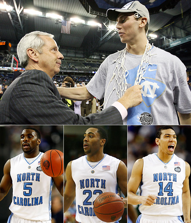 When North Carolina topped Illinois to win the 2005 national championship, Tar Heel nation knew it would be in for a rebuilding period. Gone were Sean May, Raymond Felton, Rashad McCants and Marvin Williams. Over the next two years, Roy Williams blueprinted a powerhouse. In came Tyler Hansbrough and a supporting cast including Ty Lawson, Wayne Ellington and Danny Green (bottom). Hansbrough and Co. fell to national champion Kansas in the 2008 Final Four but came back hungry and won it all, rather easily, a year later.