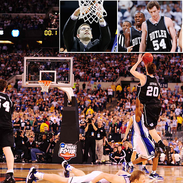 A No. 5 seed in 2010 and a No. 8 seed in 2011, Butler is definitely the most unlikely back-to-back Final Four team in recent memory. Led by Gordon Hayward, the 2010 squad upset top-seeded Syracuse in the Sweet 16 and No. 2 seed Kansas State in the Elite Eight to make its first Final Four. The Bulldogs memorably edged Michigan State in the national semifinals only to lose -- barely -- to Duke in the title game.  Minus Hayward, Butler returned stars Matt Howard and Shelvin Mack (top right) this year only to fall onto the tournament bubble in mid-season. Coach Brad Stevens brought Butler back into the tourney as a dangerous eight-seed, upsetting Florida in the Elite Eight to punch its ticket to Houston.