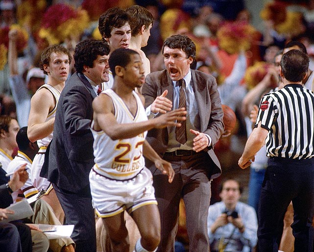 Boston College head coach Gary Williams getting heated during the Big East championship game against St. John's in 1983. Michael Williams (23) and the Eagles lost 85-77.