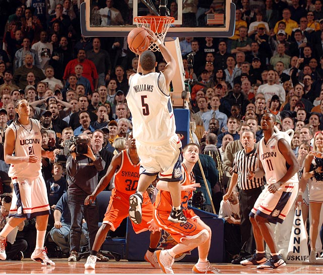 Marcus Williams of Connecticut rises for a jump shot during an 86-84 quarterfinal loss to Syracuse on March 9, 2006.