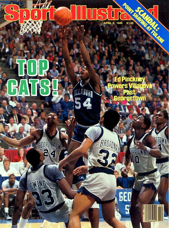 Villanova's magic run to a national title is one of the most improbable upsets in sports history. The Wildcats shot a ridiculous 79 percent from the field (they madet 9-of-10 in the second half), and Nova's Ed Pinckney outscored Patrick Ewing 16 to 14 to beat the defending champion Hoyas. The win gave coach Rollie Massimino and the `Cats their first title. 'Nova remains the lowest seed (8) to ever go the distance in the NCAA tournament.