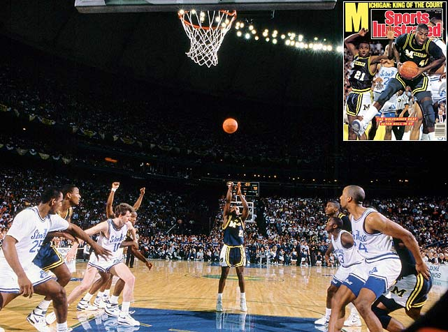 "With three seconds left in overtime and Michigan trailing by one point, Wolverines guard Rumeal Robinson stepped to the free-throw line for a one-and-one. Just a 65.6 percent free-throw shooter, Robinson calmly converted both shots, completing the Wolverines' shocking title run. Just prior to the tourney, Michigan AD Bo Schembechler fired coach Bill Frieder, who had announced he would be leaving for Arizona State at season's end. Schembechler wanted a ""Michigan man"" to coach the Wolverines, and he handed the keys to top assistant Steve Fisher."