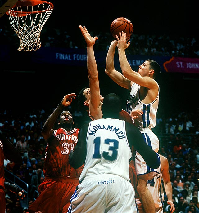 "The Kentucky Wildcats were fittingly nicknamed the ""Comeback Cats"" after overcoming three straight double-digit deficits to cap off the 1998 championship. After upsetting Duke in the Elite Eight, Kentucky's wildest comeback came at the expense of Stanford in the Final Four. Under first-year head coach Tubby Smith and behind Nazr Mohammed's 17 second-half points, Kentucky prevailed 85-84 in overtime."