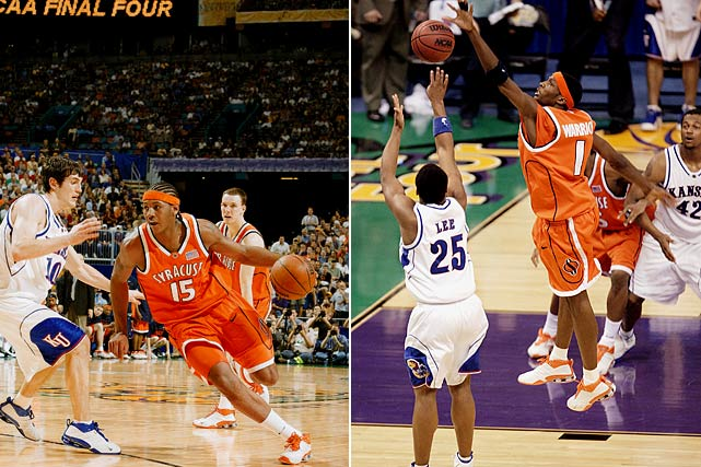 Freshman standout and eventual tourney MVP Carmelo Anthony led Syracuse on a miraculous run through the 2003 tournament. Jim Boeheim and the Orange were a third seed that upset two number one seeds en route to a matchup with Roy Williams and Kansas. Three-point specialist Gerry McNamara hit six threes in the first half and Hakim Warrick blocked a potential game-tying three point attempt to seal the 81-78 win.