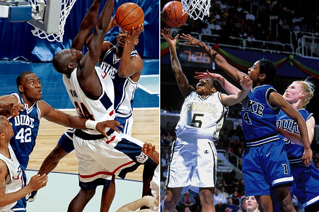 Duke's men's team featured four future first-round picks, including Player of the Year Elton Brand, but the Blue Devils fell 77-74 to UConn in the championship game after Huskies point guard Khalid El-Amin scored the game's final four points. The women's team, a No.3 seed, made its first trip to the Final Four by knocking off three-time defending champion Tennessee in the regional final, but top-ranked Purdue ended Duke's run with a 62-45 win in the title game.