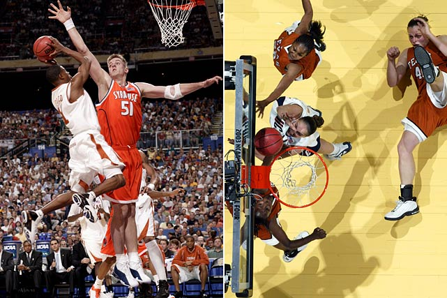 Both Longhorn teams lost to the eventual national champions in the semifinal round. Led by Wooden Award-winning point guard T.J. Ford, the men fell to Carmelo Anthony and Syracuse. The women lost to Diana Taurasi-led UConn.