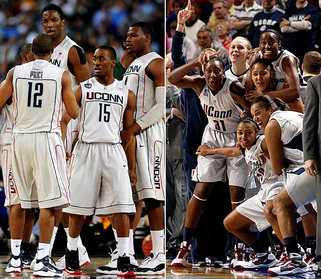 UConn was back at it in 2009, as the women's team followed Renee Montgomery, Tina Charles and Maya Moore to an undefeated season. Defensive Player of the Year Hasheem Thabeet led the men's team through a tight game with Missouri to reach the Final Four, where they fell to runner-up Michigan State in the semis.