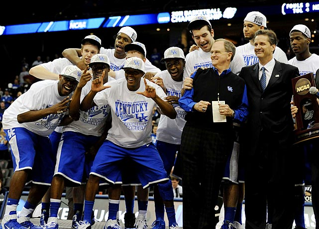 Brandon Knight scored 22 points as coach John Calipari (right) and the Wildcats advanced to the Final Four for the first time since their 1998 national title with a 76-69 win over North Carolina.