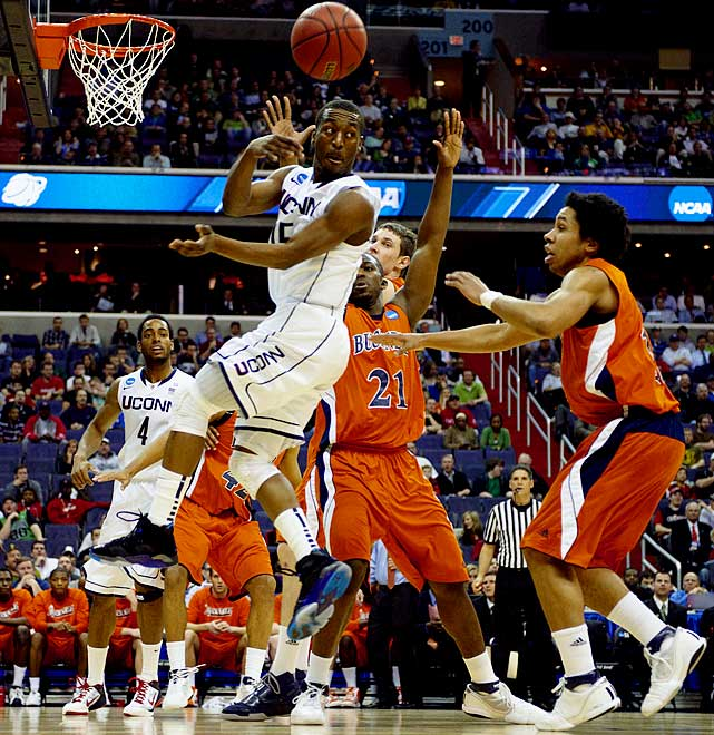Kemba Walker had a career-high 12 assists, a UConn record for an NCAA tournament game, scored 18 points and grabbed eight rebounds to lead Connecticut to an 81-52 victory over Bucknell.