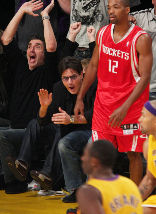Sheen cheers on Kobe Bryant and the Lakers at their home opener at the Staples Center in October 2007.