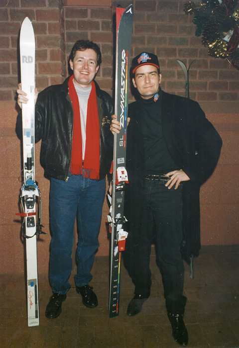 "Sheen appeared on CNN's  Piers Morgan Tonight  on Feb. 28 and declared himself drug free and ""super-bitchin."" In this 1995 photo, the duo prepare for a ski trip."