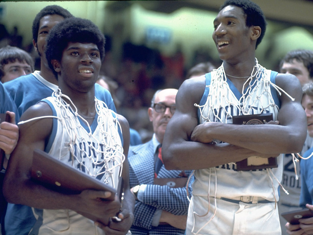 North Carolina's Phil Ford and Walter Davis are all smiles after defeating N.C. State in the finals of the ACC Tournament. Ford was named MVP.