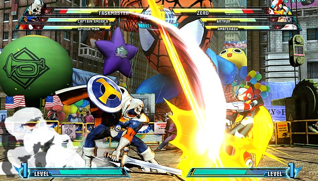 Marvel vs. Capcom 3 features eye-popping visuals and slick three-on-three fighting that should appeal to veterans and noobs alike. As usual the goal is to deplete the health bars of the other team while using basic attacks to power up special and team-based attacks. During battles you can tag-in anyone on your team, so management and timing is critical.    The buttons in the game are mapped to light, medium and heavy attacks, as well as a special attack. Special attacks are used to launch your opponent into the air, opening the door for a host of combination and special moves where you can do a lot of damage.   The game has 36 playable characters, 32 of which you can play right off the bat. The characters are evenly split between Marvel and Capcom franchises and include a nice mix of well-known characters like Spider-man, Captain America, Ryu and Chun-Li, but also a nice sampling of niche characters like Taskmaster, X-23, Arthur and Zero. The game allows you to save favorite team combinations which are easy to access in the character select screen.   In terms of gameplay, the characters are varied and generally well balanced such that a fast character like Wolverine won't get pounded down by the powerful but slow Hulk. There's also a cool X-factor mode where your character temporarily becomes stronger and faster. The effect is different for each character, so choosing when to activate the power-up is strategically important.   Besides the campaign mode and multiplayer, there's not a lot going on in Marvel vs. Capcom 3. There's a basic training mode and a challenge based mission mode, but it's really just a different spin on training mode. Some features we've seen in other fighting games are missing here. There's no time attack challenges, no spectator mode for online matches and no alternate costumes. All of that could be added eventually, but those are unfortunate omissions from the onset.   Score: 8/10
