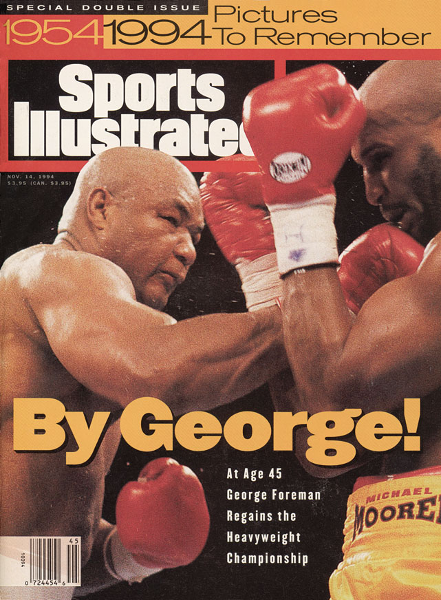 The 45-year-old Foreman, who had weighed just 217½ when he stopped Joe Frazier for the title in 1973, tipped the scales at 250 for his historic knockout victory over Michael Moorer on Nov. 5, 1994.