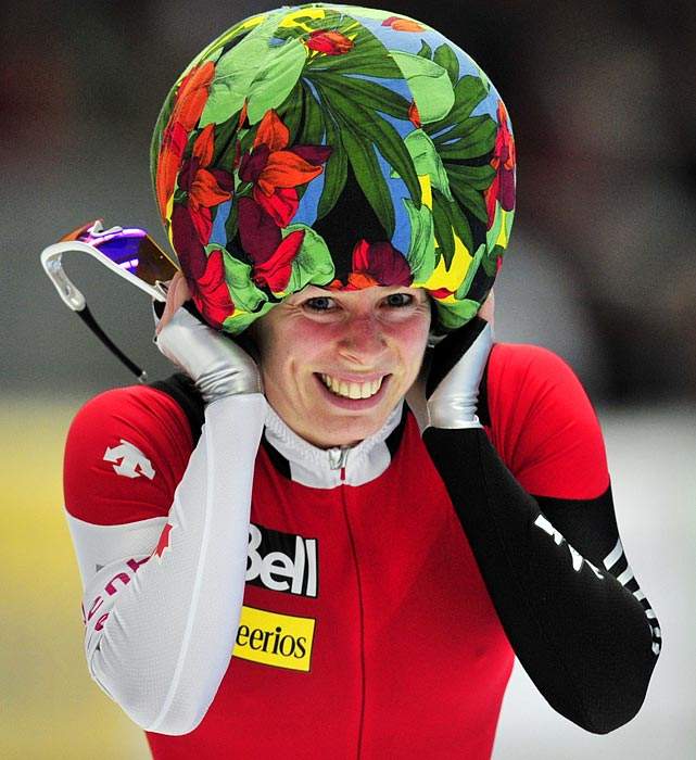 Canada's Christine Nesbitt brings out her Sunday best after winning the  1000-meter speed skating competition at the world single distance speed skating championships on March 12.