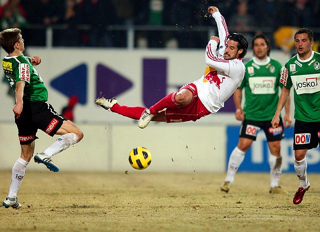 FC Red Bull Salzburg's Simon Cziommer defies gravity going for a shot against SV Ried in a Bundesliga match on March 12.
