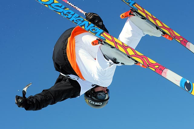 France's Joffrey Pollet-Villard goes head over heels during the freestyle skiing halfpipe event at the FIS freestyle World Cup in Savoie, France.