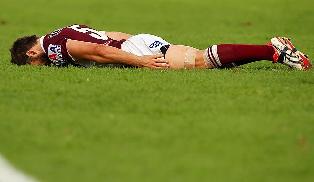 Manly-Warringah Sea Eagles winger David Williams celebrates with a plank pose during Manly's 26-12 victory over the Newcastle Knights on March 27 in Sydney, Australia.