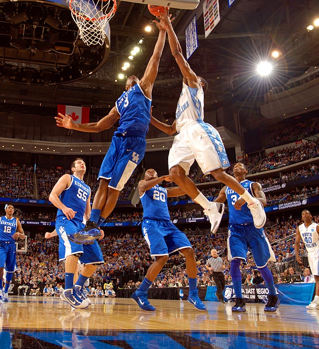 Kentucky Wildcats phenom Terrence Jones blocks a North Carolina shot during the Wildcats' 76-69 victory over the Tar Heels.  The victory propelled Kentucky to their 14th Final Four and their first since 1998.