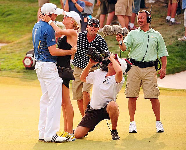 Oh, the price of fame.  Golfer Martin Laird's intimate moment following his Arnold Palmer Invitational victory is captured in full by an all-too-eager camera crew.