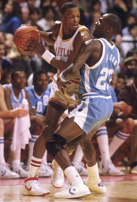It's been 25 years since the death of Maryland hoops star Len Bias, who led Maryland to the second round of the 1986 NCAA Tournament. During his four-year career, Bias never made it past the Sweet 16. The 22-year-old forward died from cardiac arrest caused by a cocaine overdose on June 19, 1986, two days after being selected with the second overall pick by the Boston Celtics. Here are some rare photos of the former Terrapin.   Bias is defended by North Carolina guard Michael Jordan. On the night Bias was drafted, Boston scouts compared him to the Bulls guard and many felt the two would continue their ACC-born rivalry for years to come.